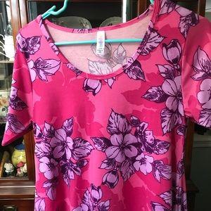 NWOT LuLaRoe Perfect T. Pink floral print. Sz XXS